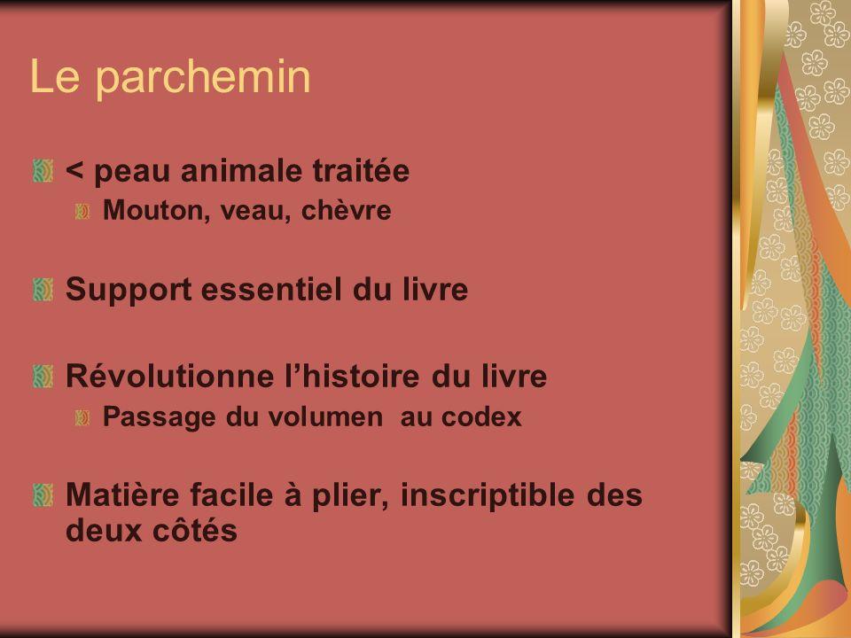 Le parchemin < peau animale traitée Mouton, veau, chèvre Support essentiel du livre Révolutionne lhistoire du livre Passage du volumen au codex Matièr