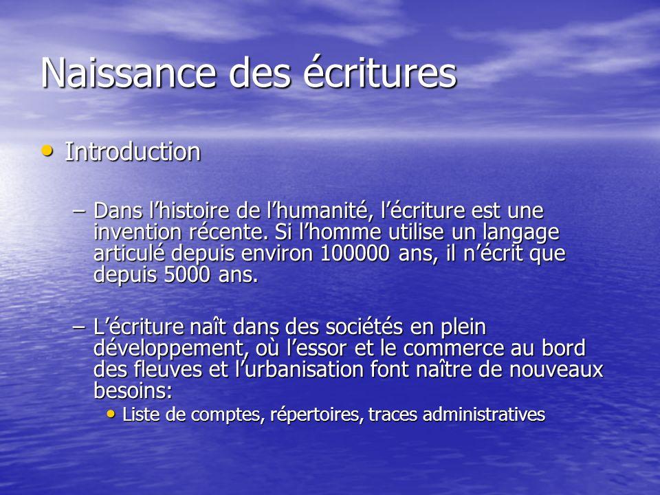 Naissance des écritures Introduction Introduction –Dans lhistoire de lhumanité, lécriture est une invention récente. Si lhomme utilise un langage arti
