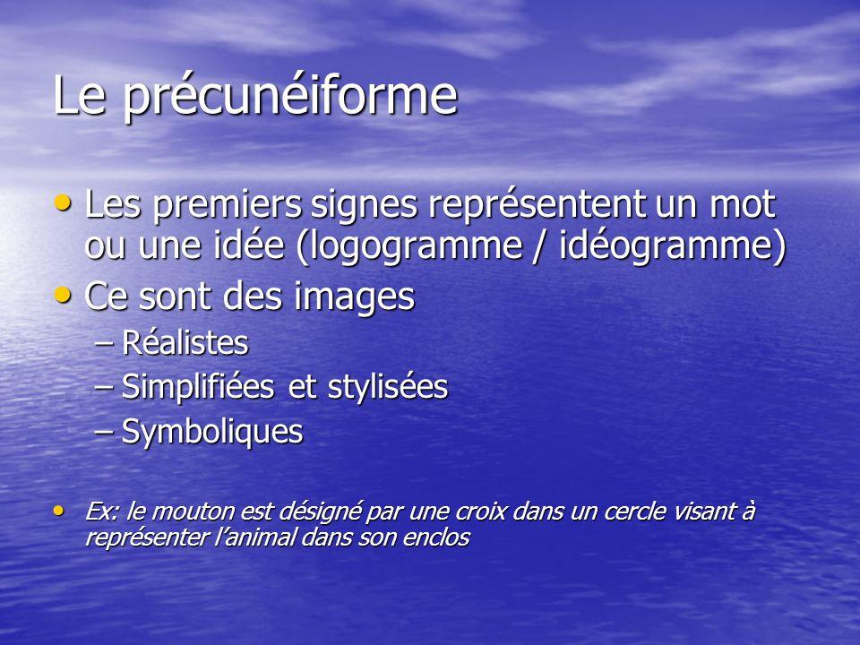 Le précunéiforme Les premiers signes représentent un mot ou une idée (logogramme / idéogramme) Les premiers signes représentent un mot ou une idée (lo