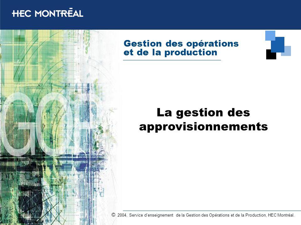 Gestion des opérations et de la production © 2004, Service denseignement de la Gestion des Opérations et de la Production, HEC Montréal. La gestion de