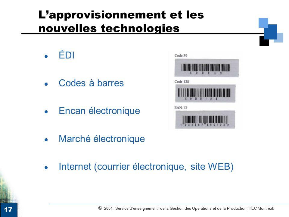 17 © 2004, Service denseignement de la Gestion des Opérations et de la Production, HEC Montréal. Lapprovisionnement et les nouvelles technologies ÉDI