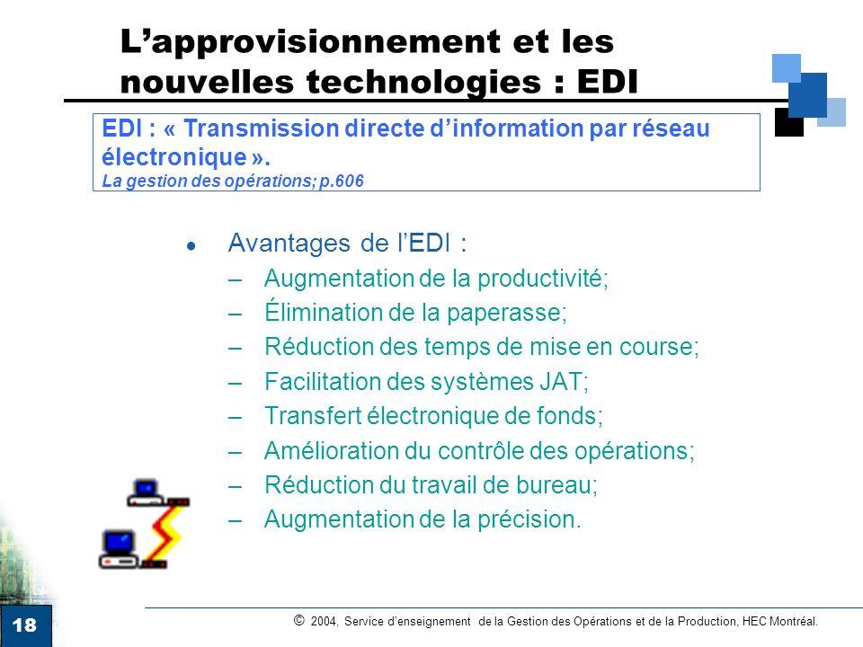 18 © 2004, Service denseignement de la Gestion des Opérations et de la Production, HEC Montréal. Lapprovisionnement et les nouvelles technologies : ED