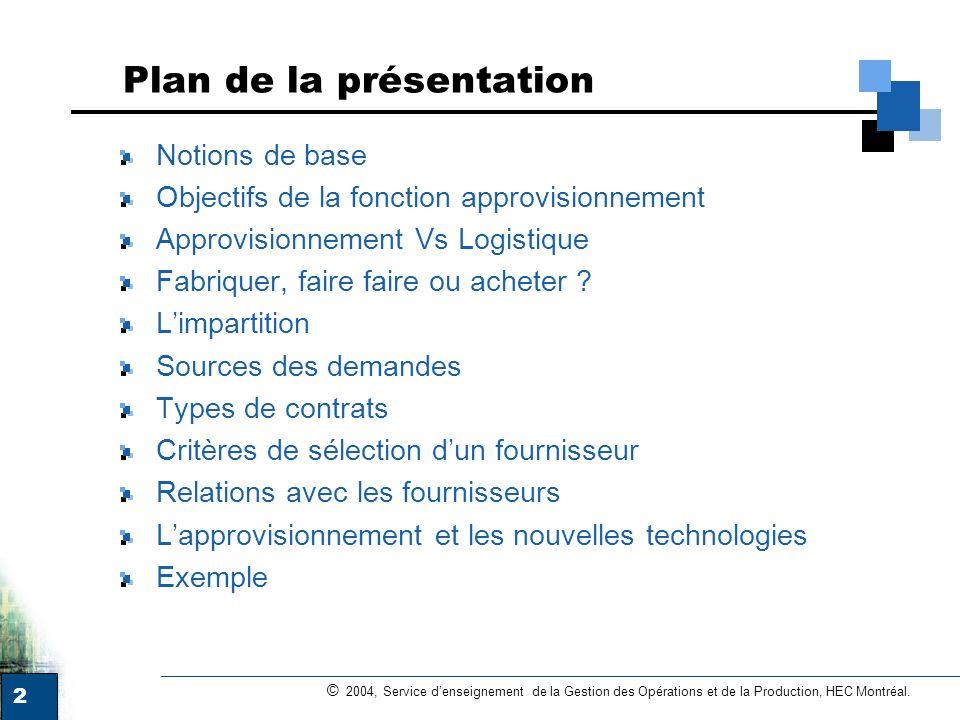 2 © 2004, Service denseignement de la Gestion des Opérations et de la Production, HEC Montréal. Plan de la présentation Notions de base Objectifs de l