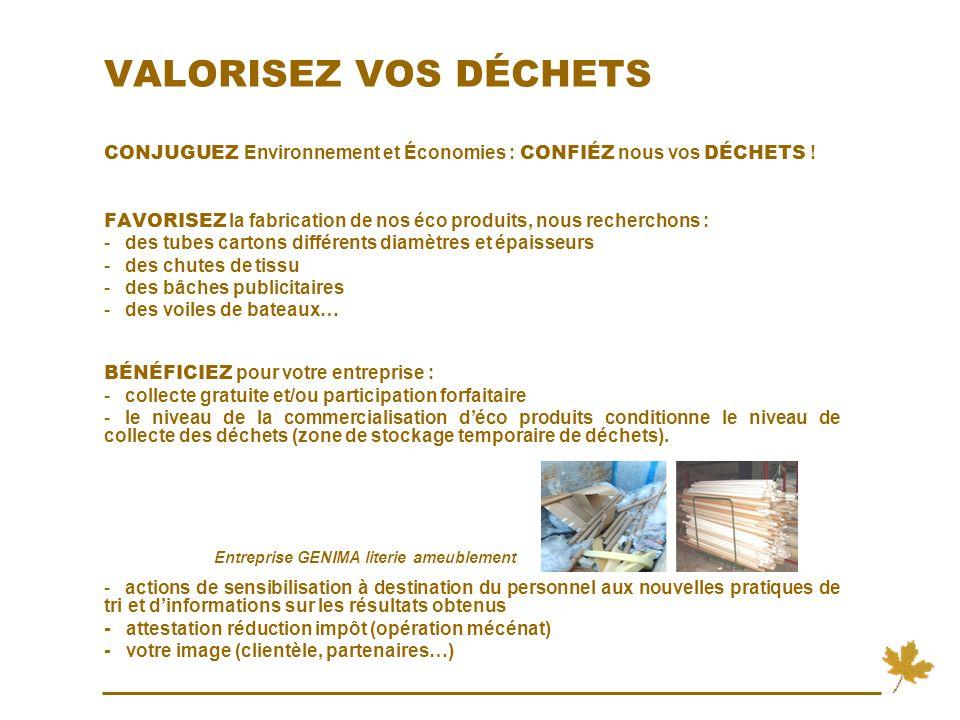 VALORISEZ VOS DÉCHETS CONJUGUEZ Environnement et Économies : CONFIÉZ nous vos DÉCHETS .