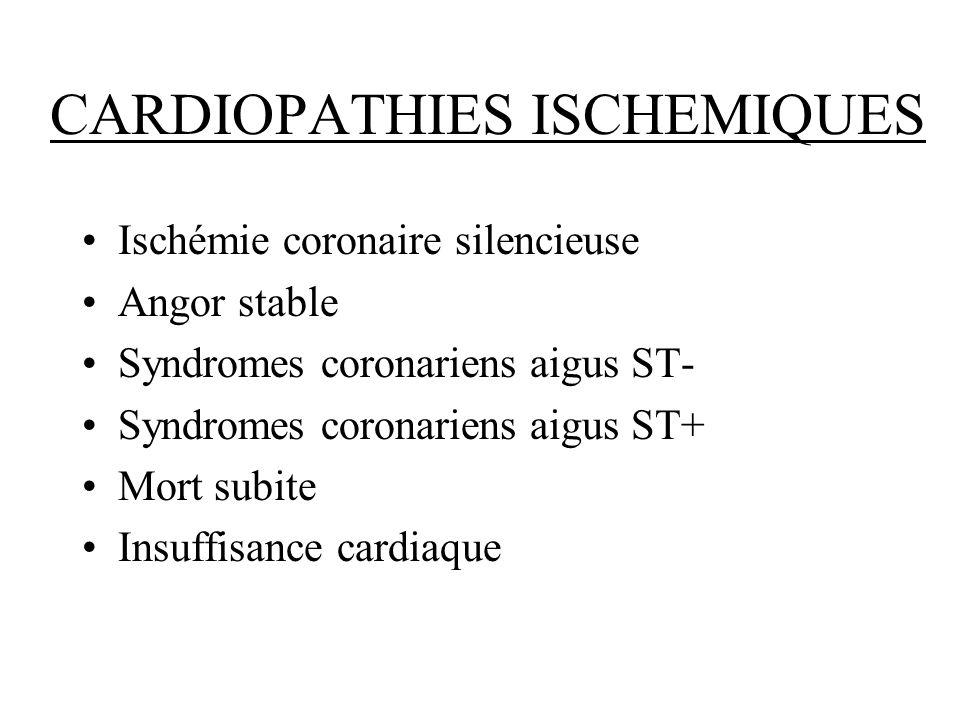 CARDIOPATHIES ISCHEMIQUES Ischémie coronaire silencieuse Angor stable Syndromes coronariens aigus ST- Syndromes coronariens aigus ST+ Mort subite Insu