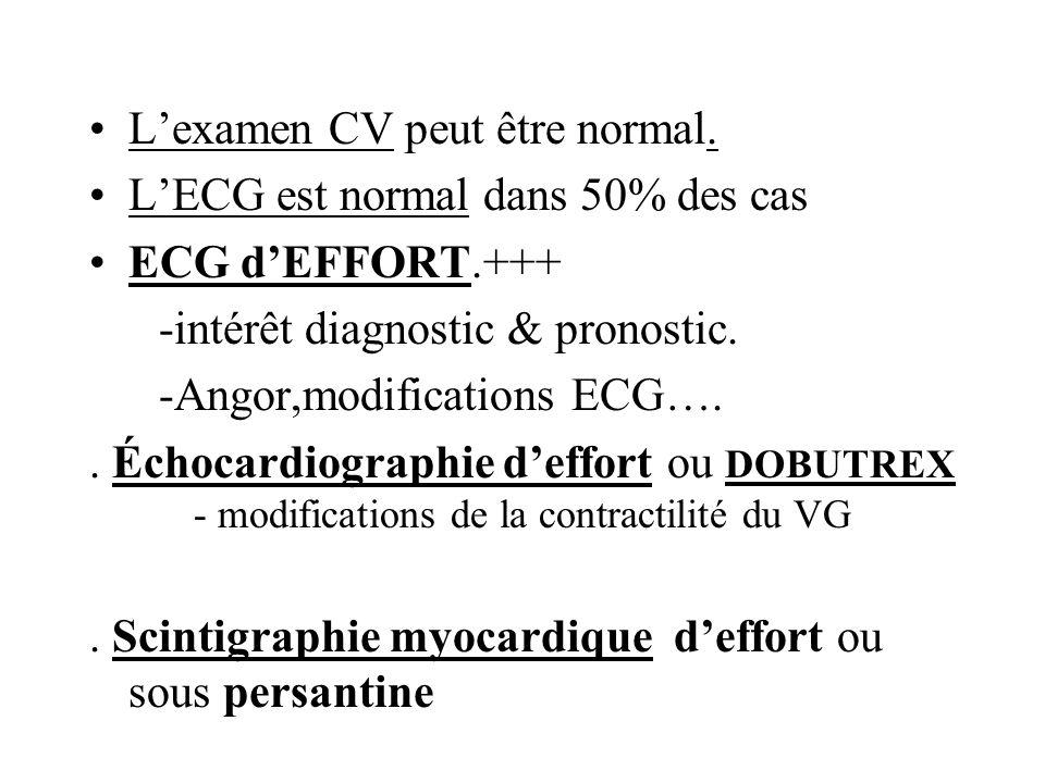 Lexamen CV peut être normal. LECG est normal dans 50% des cas ECG dEFFORT.+++ -intérêt diagnostic & pronostic. -Angor,modifications ECG….. Échocardiog