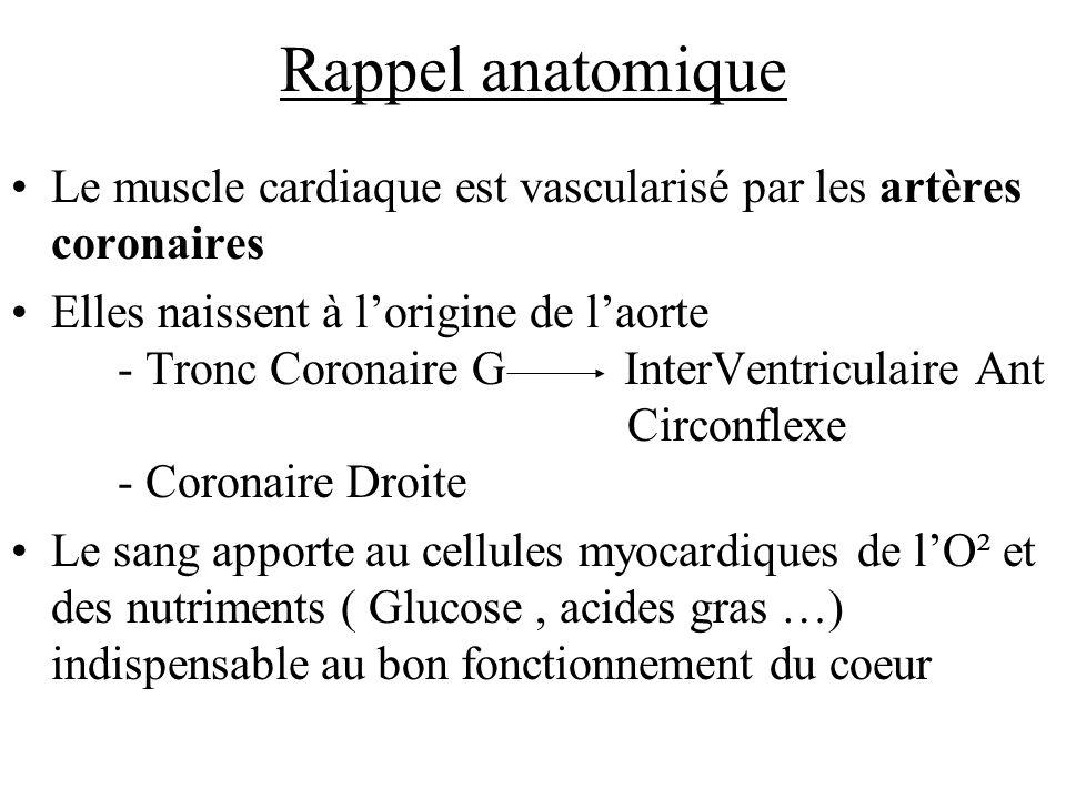 Rappel anatomique Le muscle cardiaque est vascularisé par les artères coronaires Elles naissent à lorigine de laorte - Tronc Coronaire G InterVentricu