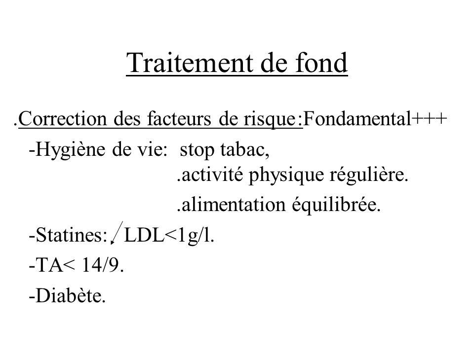 Traitement de fond.Correction des facteurs de risque:Fondamental+++ -Hygiène de vie: stop tabac,.activité physique régulière..alimentation équilibrée.