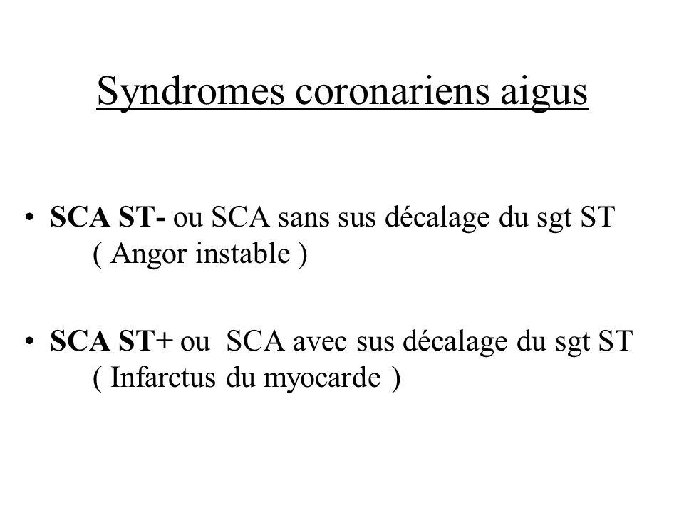 Syndromes coronariens aigus SCA ST- ou SCA sans sus décalage du sgt ST ( Angor instable ) SCA ST+ ou SCA avec sus décalage du sgt ST ( Infarctus du my