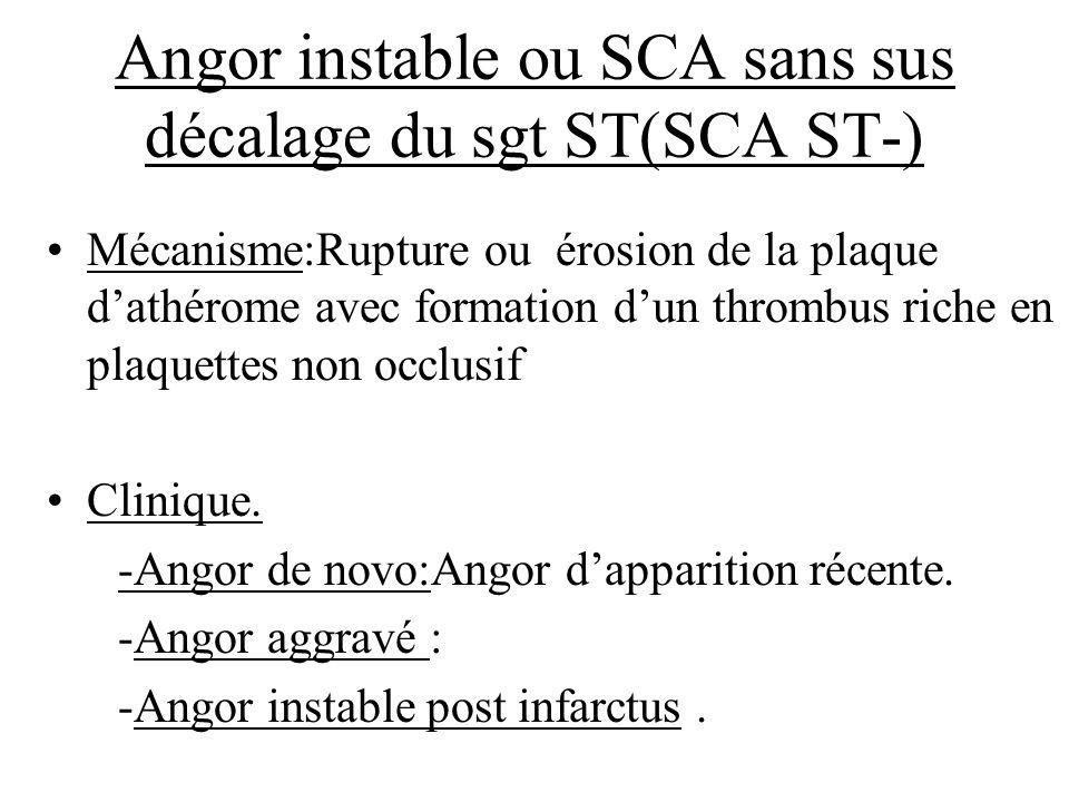 Angor instable ou SCA sans sus décalage du sgt ST(SCA ST-) Mécanisme:Rupture ou érosion de la plaque dathérome avec formation dun thrombus riche en pl