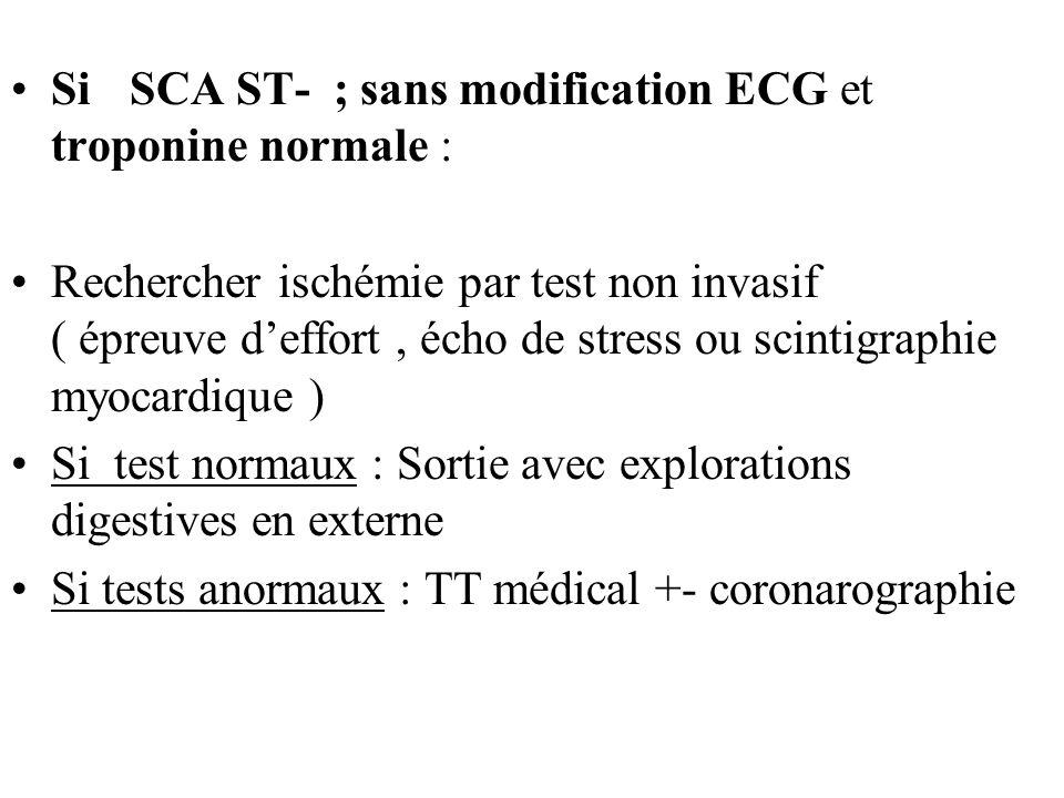 Si SCA ST- ; sans modification ECG et troponine normale : Rechercher ischémie par test non invasif ( épreuve deffort, écho de stress ou scintigraphie