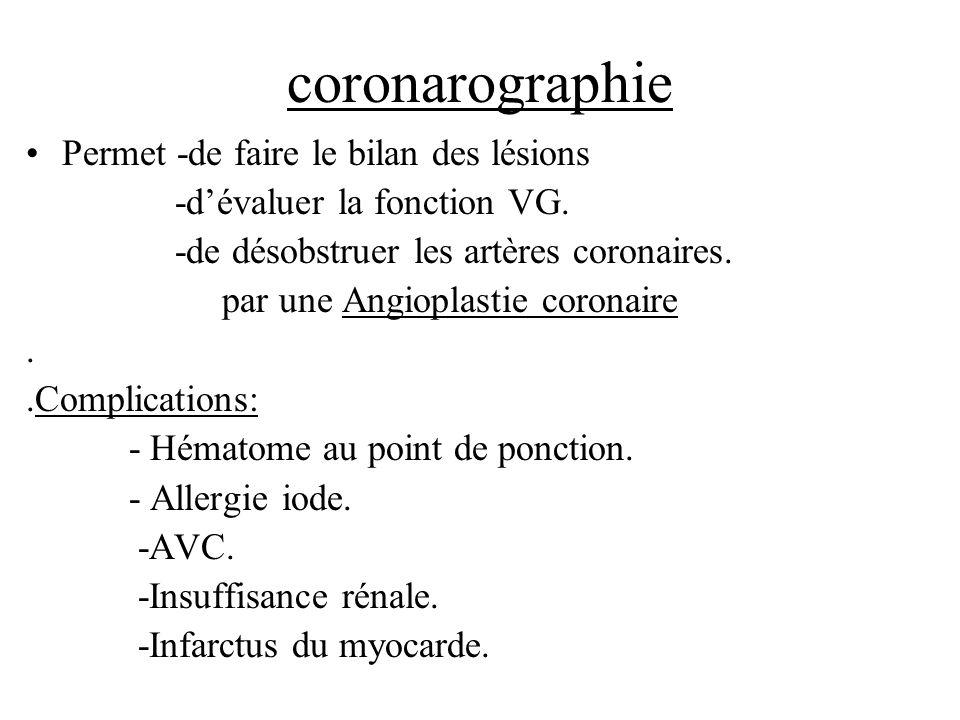 coronarographie Permet -de faire le bilan des lésions -dévaluer la fonction VG. -de désobstruer les artères coronaires. par une Angioplastie coronaire