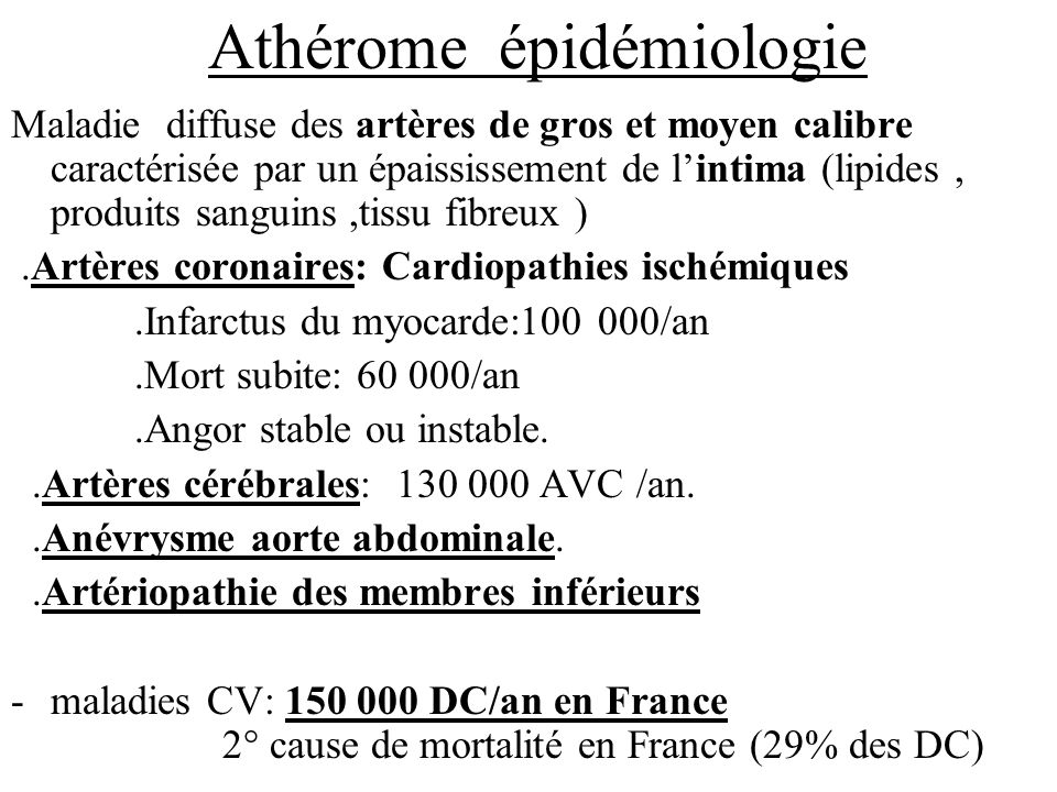 Athérome épidémiologie Maladie diffuse des artères de gros et moyen calibre caractérisée par un épaississement de lintima (lipides, produits sanguins,