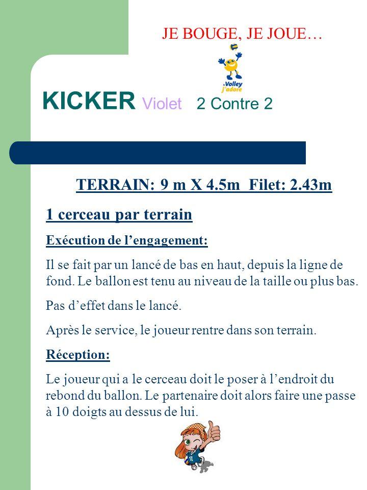 KICKER Violet 2 Contre 2 JE BOUGE, JE JOUE… TERRAIN: 9 m X 4.5m Filet: 2.43m Renvoi: Après cette première passe, le joueur renvoi à 10 doigts chez ladversaire.