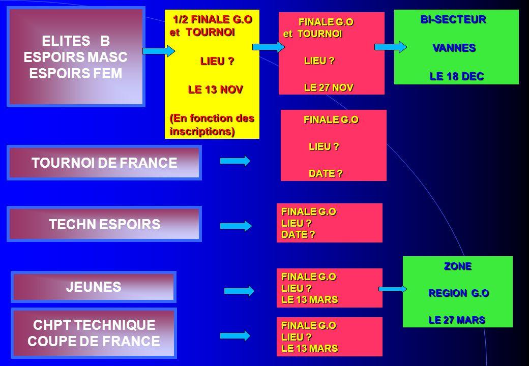 ELITES B ESPOIRS MASC ESPOIRS FEM CHPT TECHNIQUE COUPE DE FRANCE 1/2 FINALE G.O et TOURNOI 1/2 FINALE G.O et TOURNOI LIEU ? LIEU ? LE 13 NOV LE 13 NOV