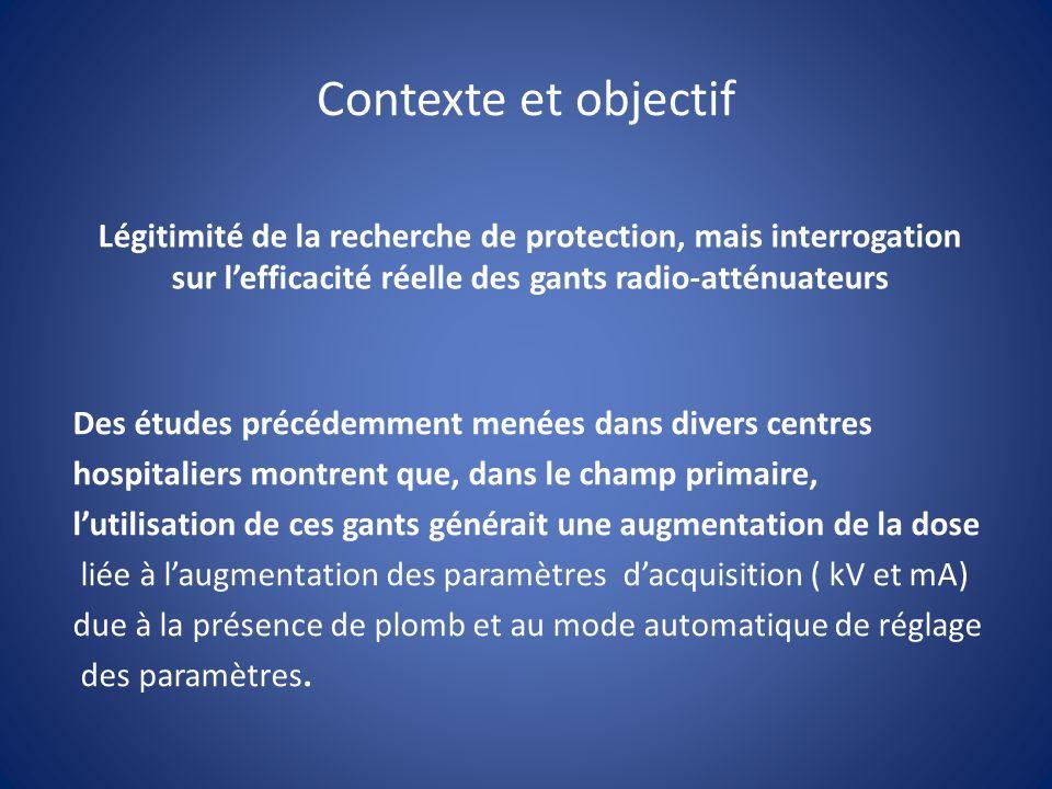 Contexte et objectif Légitimité de la recherche de protection, mais interrogation sur lefficacité réelle des gants radio-atténuateurs Des études précé