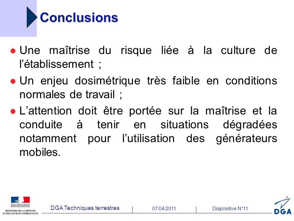 07/04/2011Diapositive N°11 DGA Techniques terrestres Conclusions Une maîtrise du risque liée à la culture de létablissement ; Un enjeu dosimétrique tr