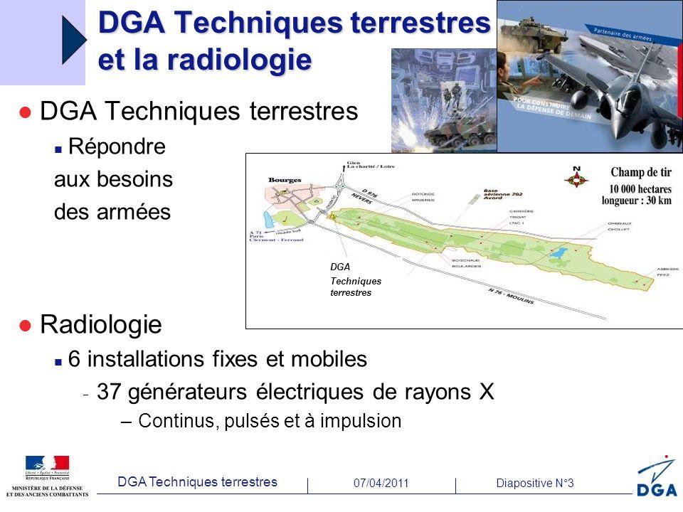 07/04/2011Diapositive N°3 DGA Techniques terrestres DGA Techniques terrestres et la radiologie DGA Techniques terrestres Répondre aux besoins des armé