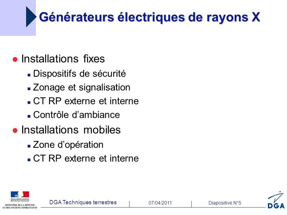 07/04/2011Diapositive N°5 DGA Techniques terrestres Générateurs électriques de rayons X Installations fixes Dispositifs de sécurité Zonage et signalis