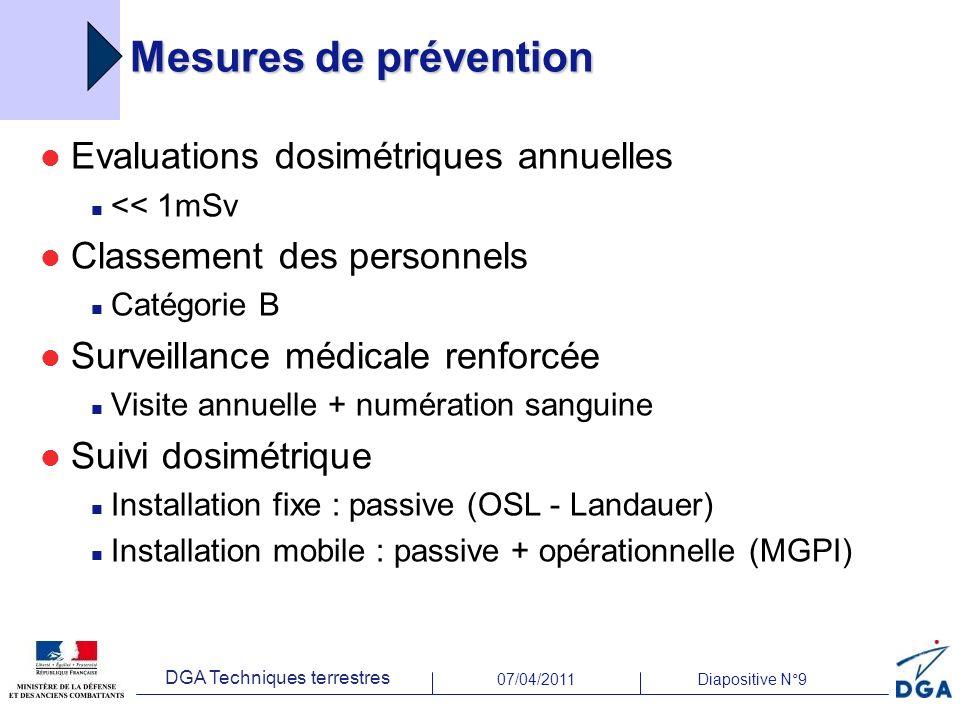 07/04/2011Diapositive N°9 DGA Techniques terrestres Mesures de prévention Evaluations dosimétriques annuelles << 1mSv Classement des personnels Catégo