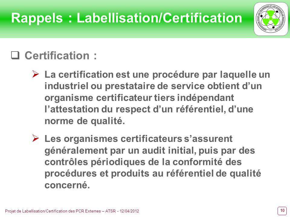 10 Projet de Labellisation/Certification des PCR Externes – ATSR - 12/04/2012 Certification : La certification est une procédure par laquelle un indus