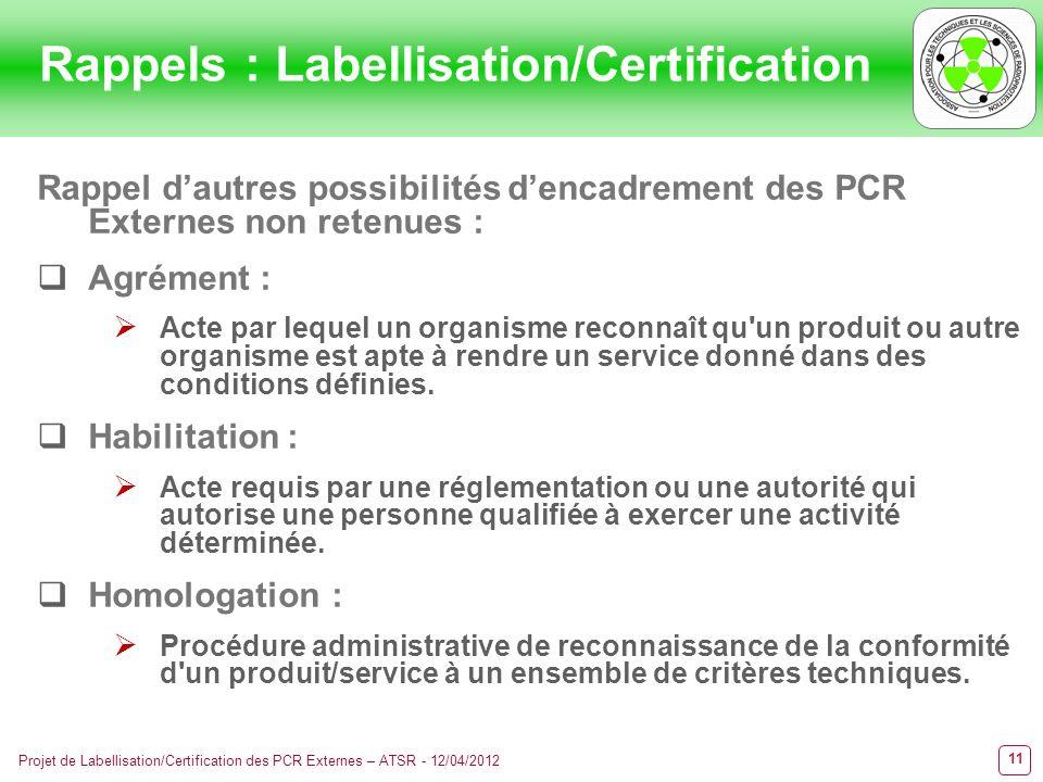 11 Projet de Labellisation/Certification des PCR Externes – ATSR - 12/04/2012 Rappel dautres possibilités dencadrement des PCR Externes non retenues :