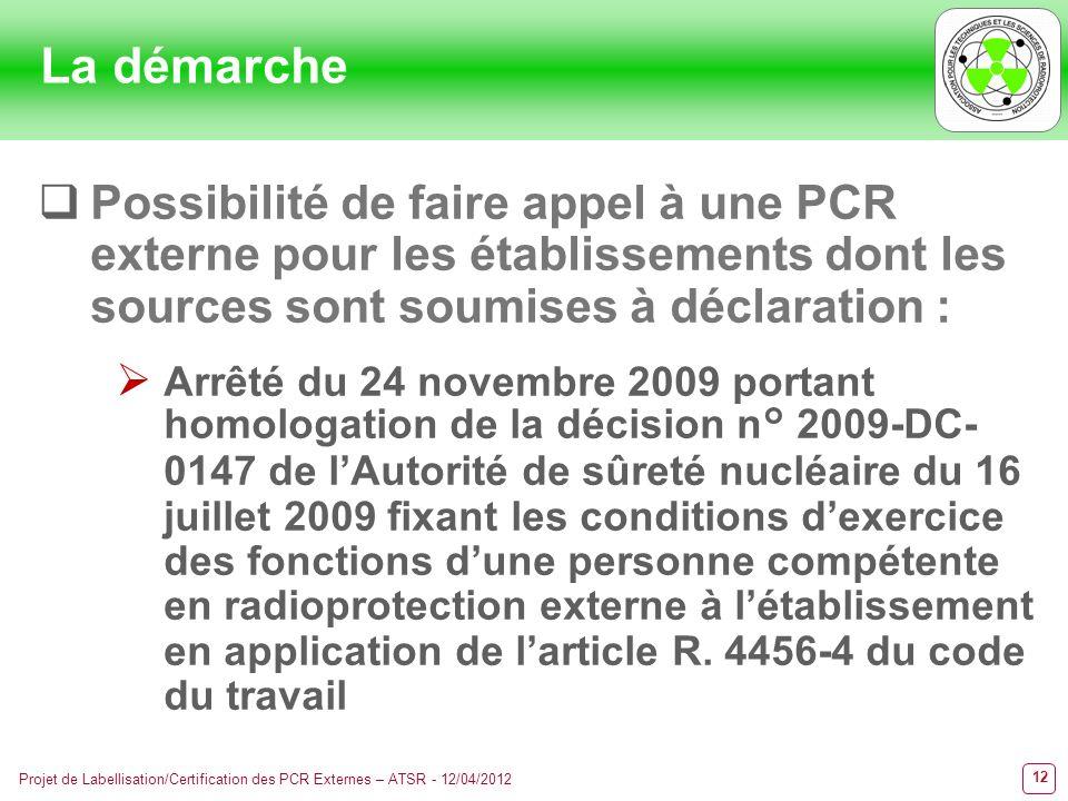 12 Projet de Labellisation/Certification des PCR Externes – ATSR - 12/04/2012 Possibilité de faire appel à une PCR externe pour les établissements don