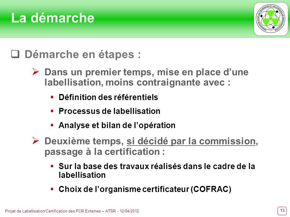 13 Projet de Labellisation/Certification des PCR Externes – ATSR - 12/04/2012 Démarche en étapes : Dans un premier temps, mise en place dune labellisa