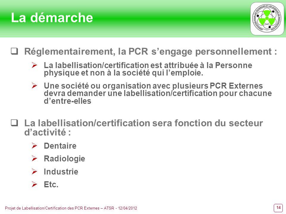 14 Projet de Labellisation/Certification des PCR Externes – ATSR - 12/04/2012 La démarche Réglementairement, la PCR sengage personnellement : La label