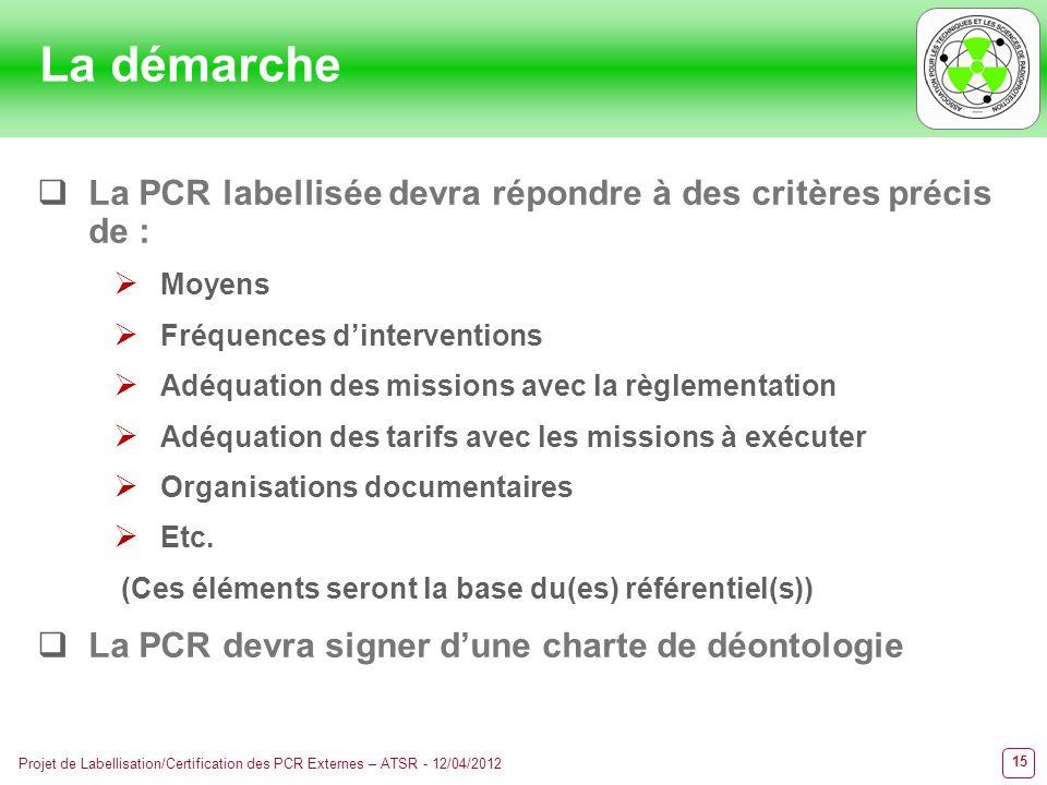 15 Projet de Labellisation/Certification des PCR Externes – ATSR - 12/04/2012 La démarche La PCR labellisée devra répondre à des critères précis de :
