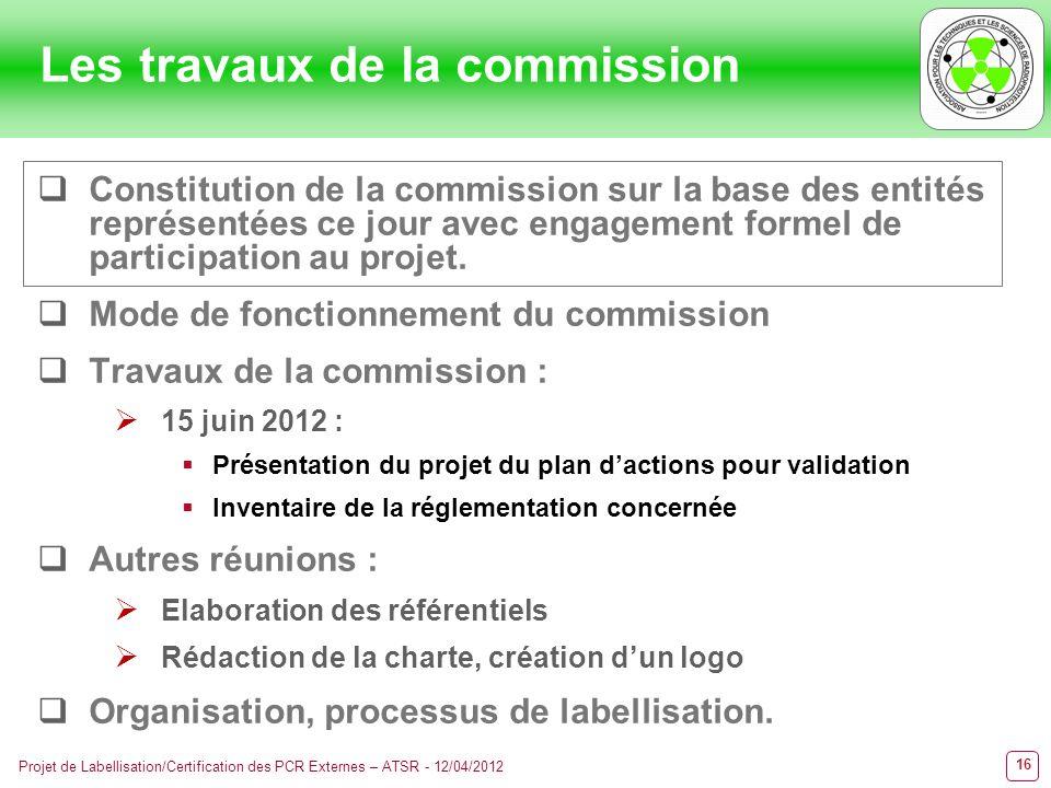 16 Projet de Labellisation/Certification des PCR Externes – ATSR - 12/04/2012 Les travaux de la commission Constitution de la commission sur la base d
