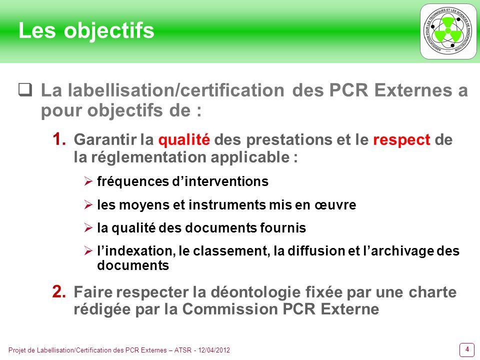 15 Projet de Labellisation/Certification des PCR Externes – ATSR - 12/04/2012 La démarche La PCR labellisée devra répondre à des critères précis de : Moyens Fréquences dinterventions Adéquation des missions avec la règlementation Adéquation des tarifs avec les missions à exécuter Organisations documentaires Etc.