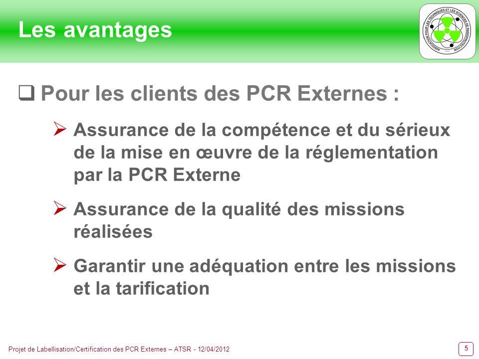 6 Projet de Labellisation/Certification des PCR Externes – ATSR - 12/04/2012 Les avantages Pour les PCR Externes : Information auprès des organismes, syndicats professionnels, etc.