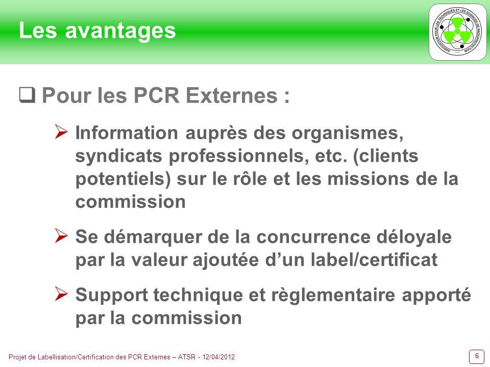 6 Projet de Labellisation/Certification des PCR Externes – ATSR - 12/04/2012 Les avantages Pour les PCR Externes : Information auprès des organismes,