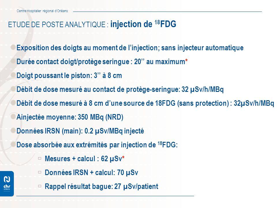 Centre Hospitalier régional dOrléans ETUDE DE POSTE ANALYTIQUE : injection de 18 FDG Exposition des doigts au moment de linjection; sans injecteur aut