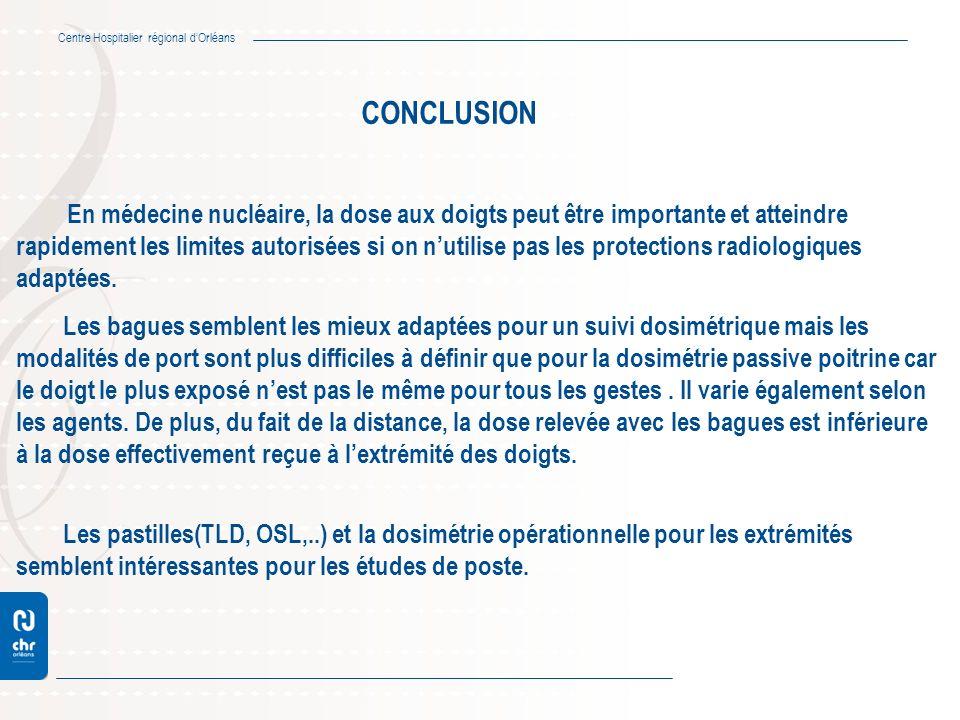 Centre Hospitalier régional dOrléans CONCLUSION En médecine nucléaire, la dose aux doigts peut être importante et atteindre rapidement les limites aut
