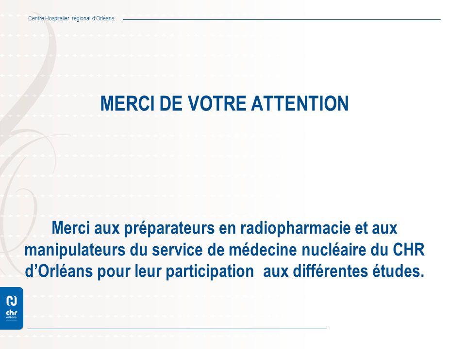 Centre Hospitalier régional dOrléans MERCI DE VOTRE ATTENTION Merci aux préparateurs en radiopharmacie et aux manipulateurs du service de médecine nuc