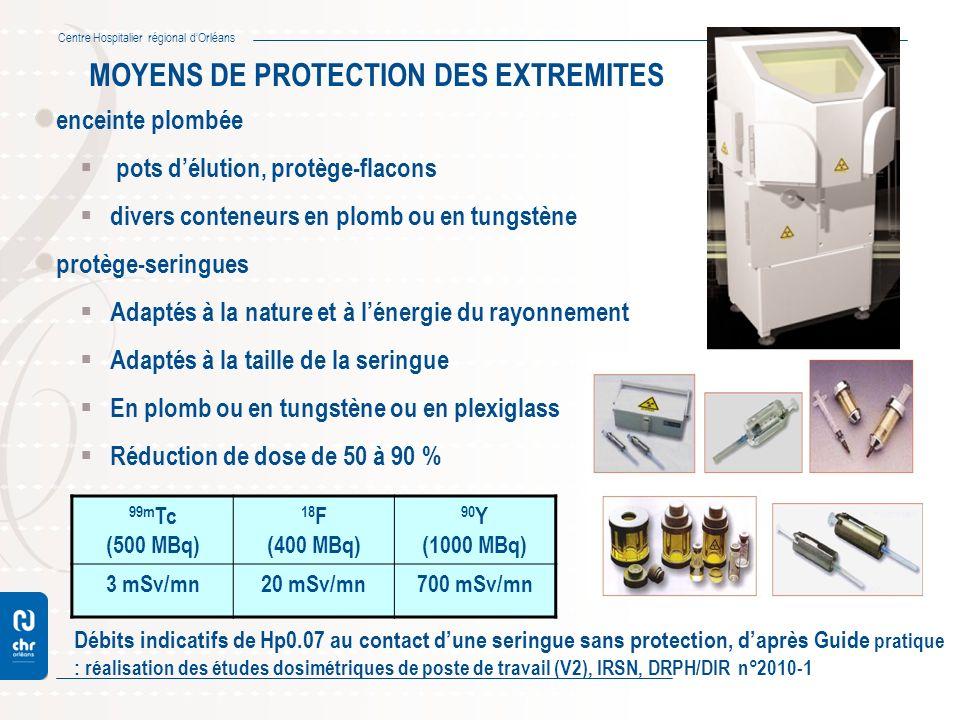 Centre Hospitalier régional dOrléans MOYENS DE PROTECTION DES EXTREMITES enceinte plombée pots délution, protège-flacons divers conteneurs en plomb ou