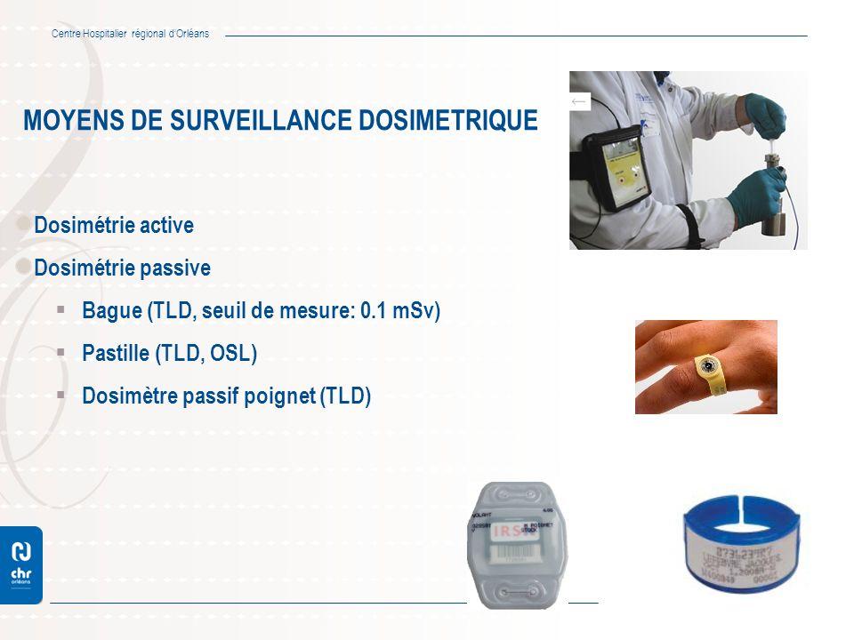 Centre Hospitalier régional dOrléans MOYENS DE SURVEILLANCE DOSIMETRIQUE Dosimétrie active Dosimétrie passive Bague (TLD, seuil de mesure: 0.1 mSv) Pa