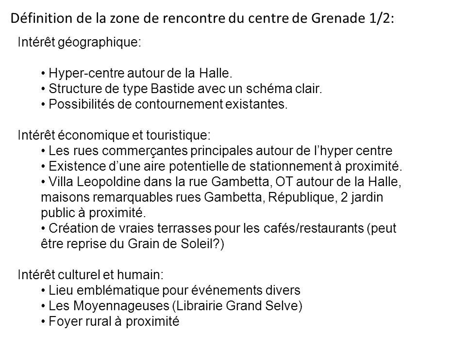 Définition de la zone de rencontre du centre de Grenade 1/2: Intérêt géographique: Hyper-centre autour de la Halle. Structure de type Bastide avec un