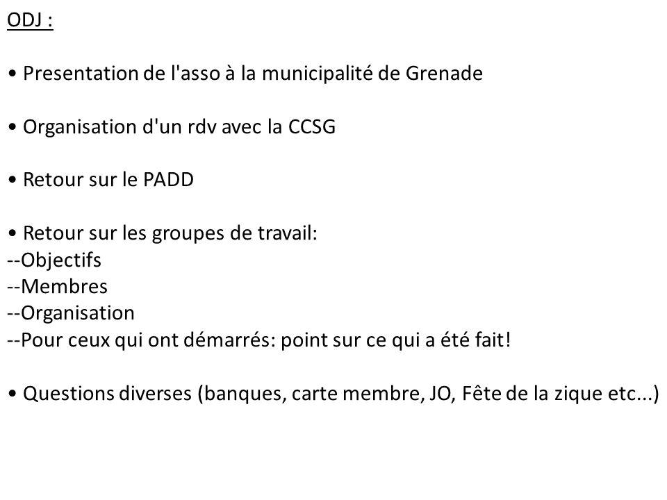 ODJ : Presentation de l'asso à la municipalité de Grenade Organisation d'un rdv avec la CCSG Retour sur le PADD Retour sur les groupes de travail: --O