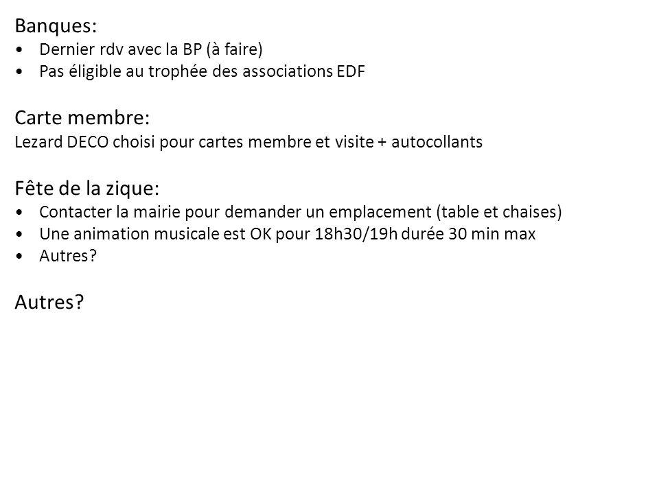 Banques: Dernier rdv avec la BP (à faire) Pas éligible au trophée des associations EDF Carte membre: Lezard DECO choisi pour cartes membre et visite +