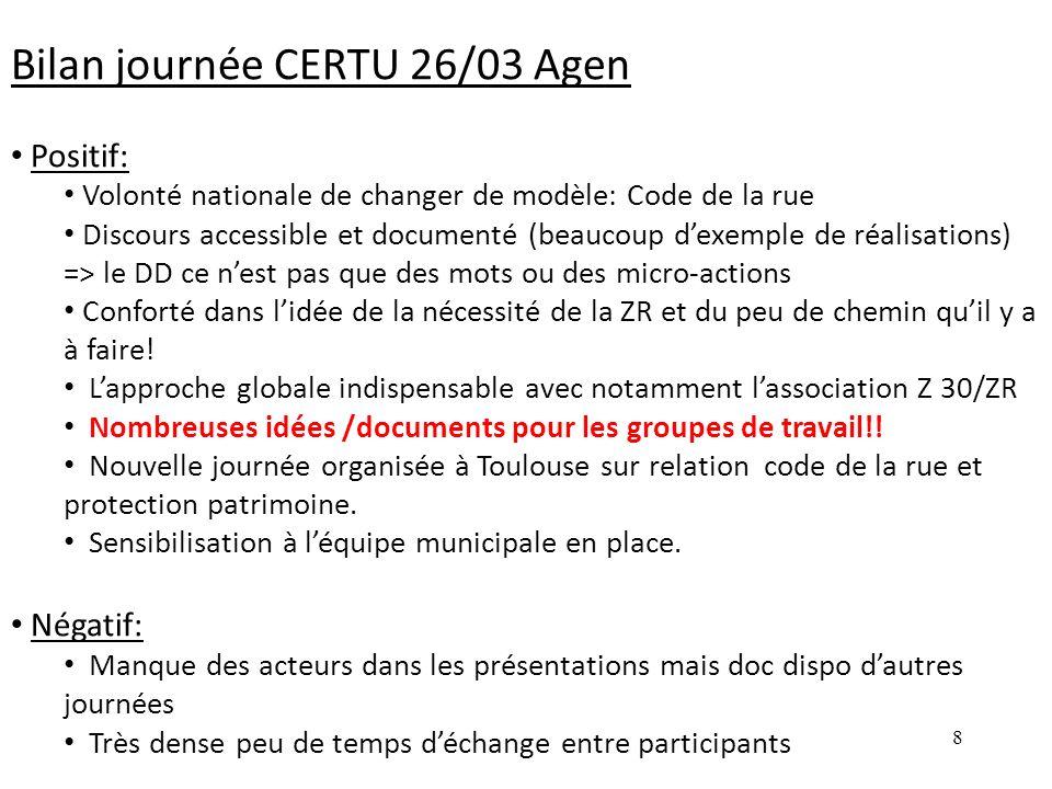8 Bilan journée CERTU 26/03 Agen Positif: Volonté nationale de changer de modèle: Code de la rue Discours accessible et documenté (beaucoup dexemple d