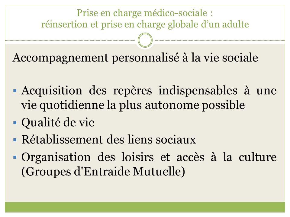 Prise en charge médico-sociale : réinsertion et prise en charge globale dun adulte Accompagnement personnalisé à la vie sociale Acquisition des repère