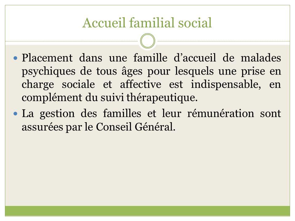Accueil familial social Placement dans une famille daccueil de malades psychiques de tous âges pour lesquels une prise en charge sociale et affective