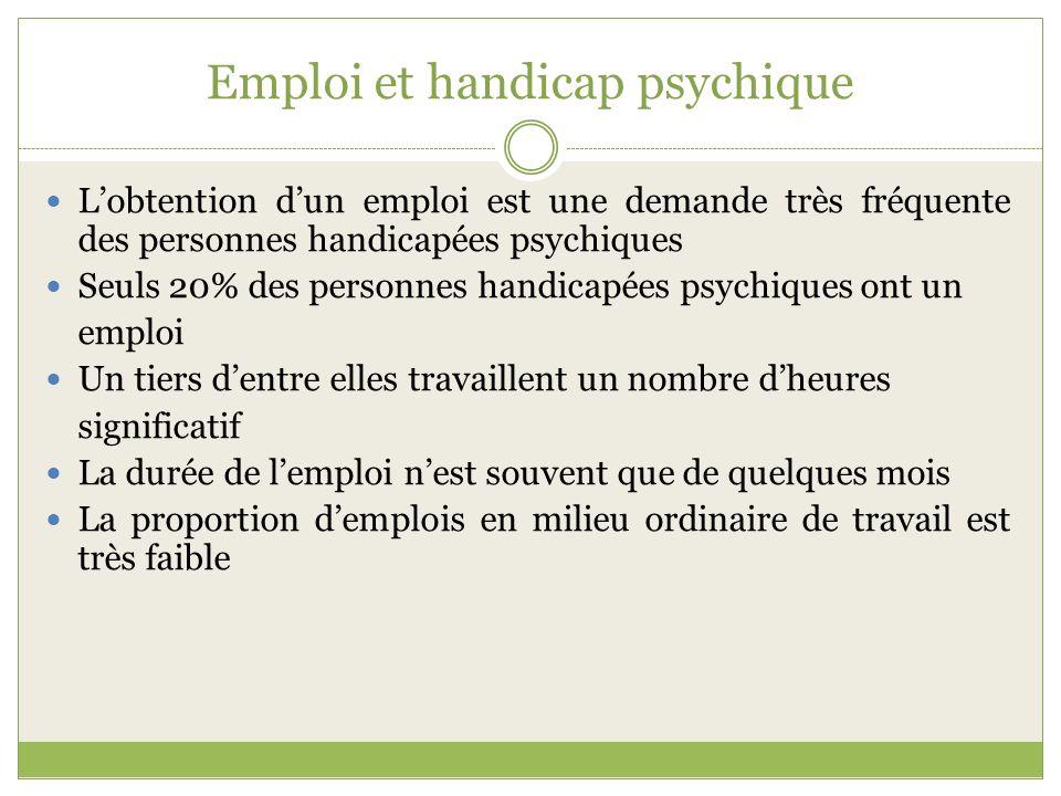 Emploi et handicap psychique Lobtention dun emploi est une demande très fréquente des personnes handicapées psychiques Seuls 20% des personnes handica