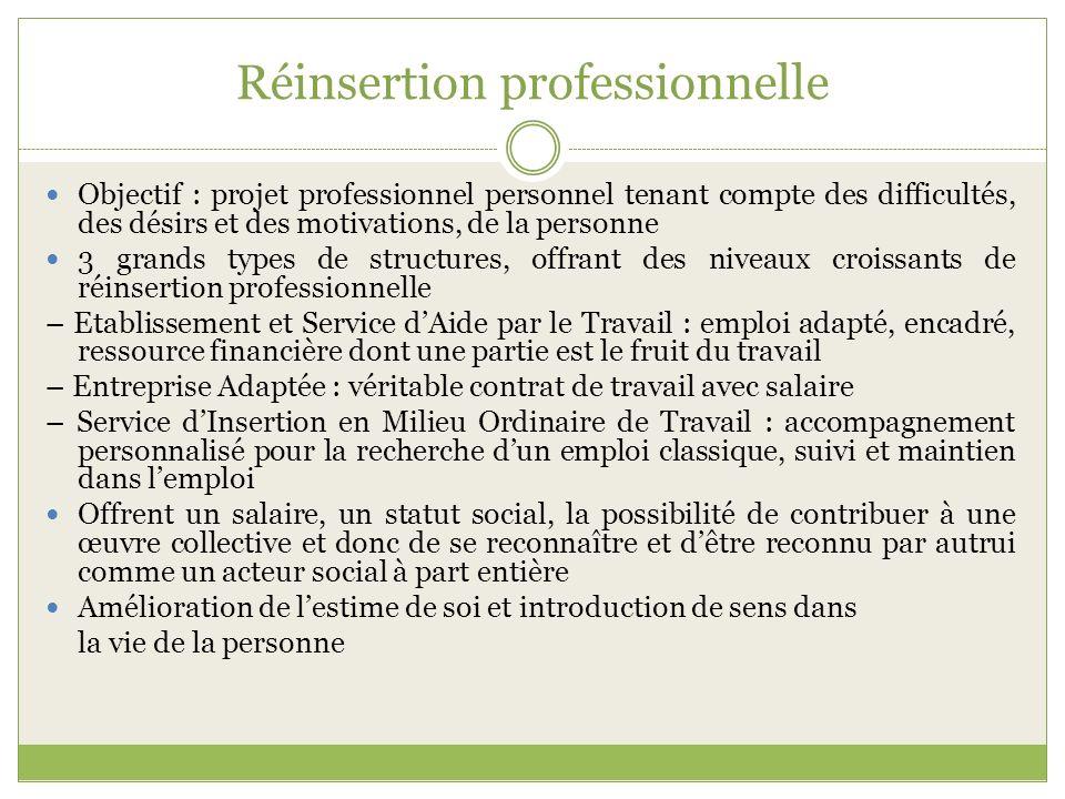 Réinsertion professionnelle Objectif : projet professionnel personnel tenant compte des difficultés, des désirs et des motivations, de la personne 3 g