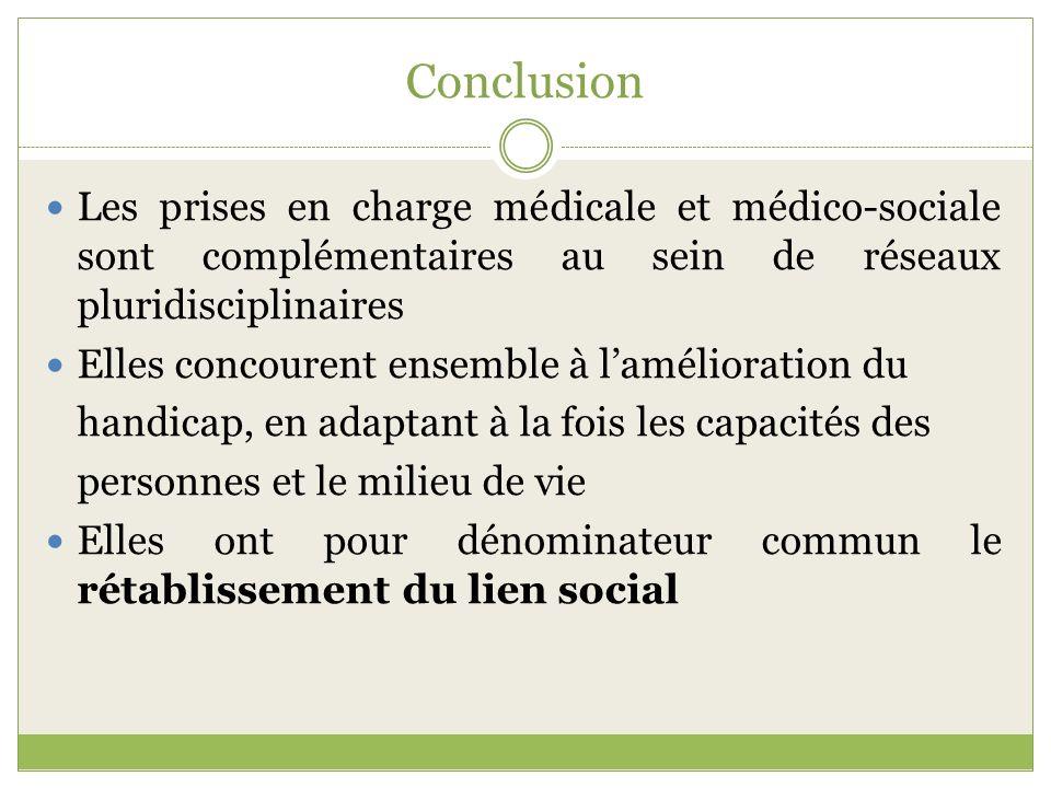 Conclusion Les prises en charge médicale et médico-sociale sont complémentaires au sein de réseaux pluridisciplinaires Elles concourent ensemble à lam