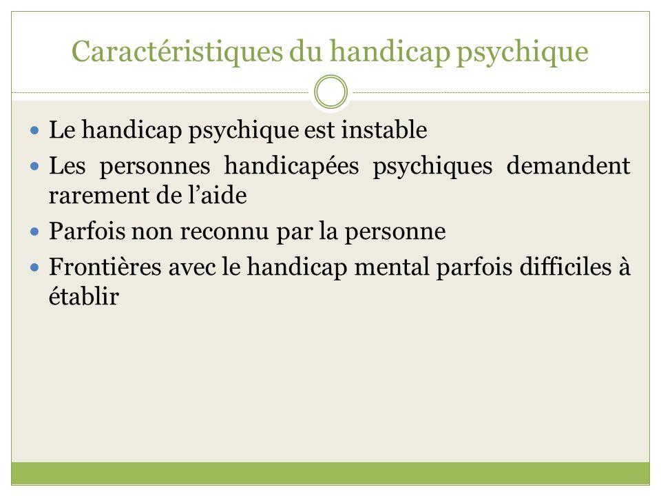 Caractéristiques du handicap psychique Le handicap psychique est instable Les personnes handicapées psychiques demandent rarement de laide Parfois non