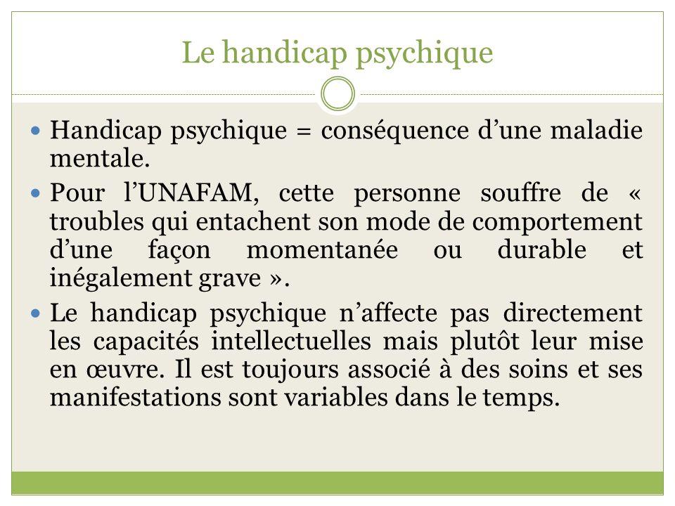 Le handicap psychique Handicap psychique = conséquence dune maladie mentale. Pour lUNAFAM, cette personne souffre de « troubles qui entachent son mode
